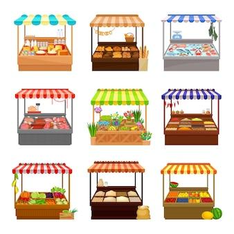 Набор рыночных прилавков с различными продуктами