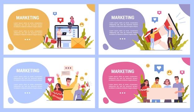 マーケティング戦略のwebバナーのコンセプトのセットです。広告とマーケティングの概念。お客様とのコミュニケーション。ビジネス戦略と成功。メディアによるseoとコミュニケーション。図