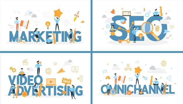 周りの人々とマーケティングの単語のセット。 seoとオムニチャネル、ビデオ広告。ビジネス戦略と顧客とのコミュニケーション。ベクトルフラット図