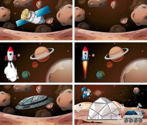 Набор марсовых сцен фон набор