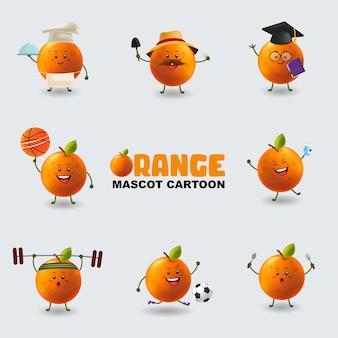 いくつかのポーズのマスコットオレンジのセット
