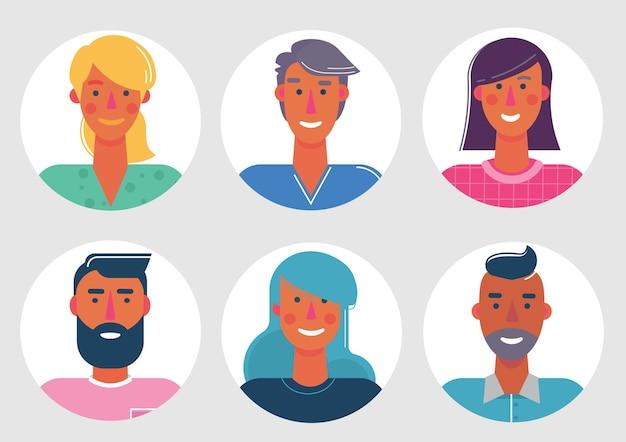 Набор материалов мультяшных аватарок. персонажи для интернета