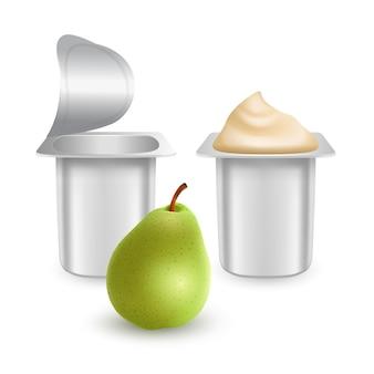Набор матовых пластиковых горшочков для йогурта