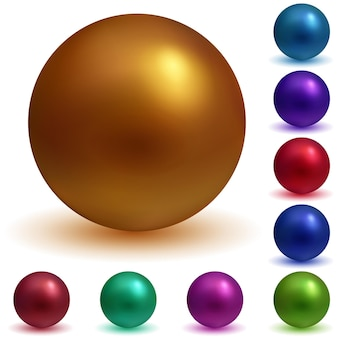 Набор матовых сфер разных цветов с тенями