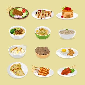 朝食、昼食、夕食のイラストの食事のセット