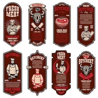 Набор листовок мясного магазина. элемент дизайна для баннера, логотипа, знака, плаката, флаера.