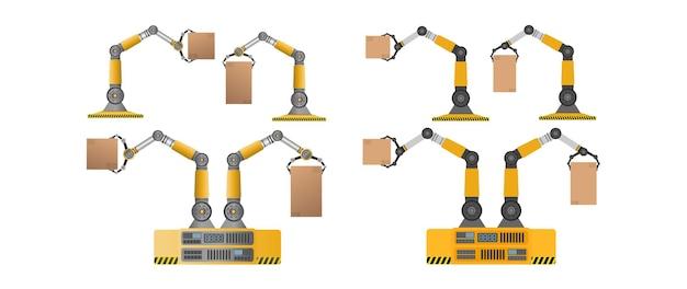 상자를 들고 기계 로봇의 집합입니다. 산업용 로봇 팔이 짐을 들어 올립니다. 현대 산업 기술입니다. 제조 기업용 기기. 외딴. 벡터.
