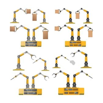 상자를 들고 기계 로봇의 집합입니다. 산업용 로봇 팔이 짐을 들어 올립니다.