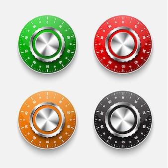 Набор замков для механических сейфов с круглым циферблатом красного, черного, зеленого и желтого цветов.