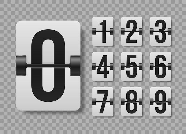 透明な背景の上の機械的なスコアボードの数字のセット