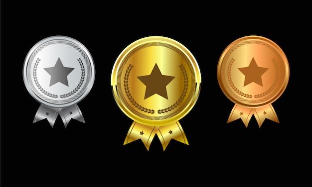 성취를위한 메달 세트 리본으로 챔피언 골드, 실버 및 브론즈 상 메달