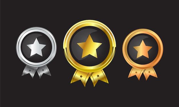 リボンとチャンピオンの金、銀、銅の賞を達成するためのメダルのセット