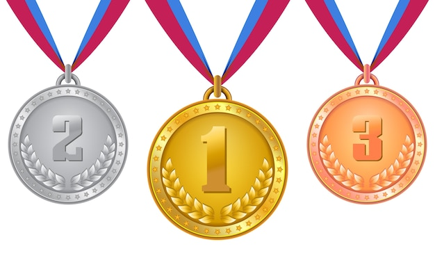 Медаль, медали на золото, серебро и бронза