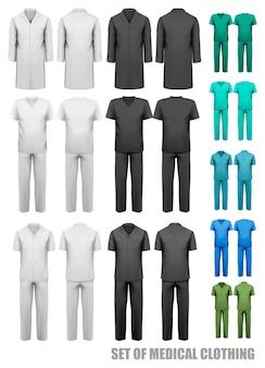Комплект медицинской одежды. шаблон оформления. иллюстрации.