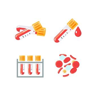 フラットスタイルの血液検査デザインの医療イラストのセットです。