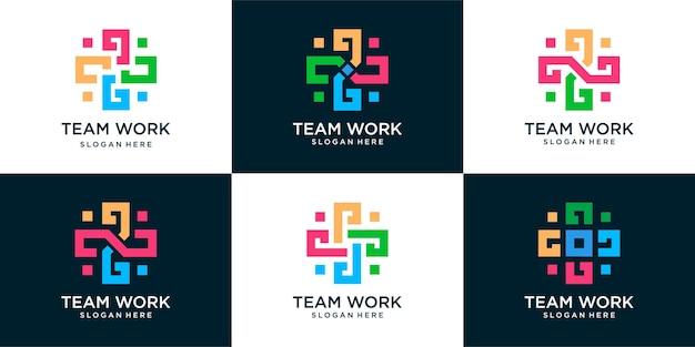 Набор шаблонов медицинских логотипов, коммуникации и семьи. бригада врачей медицинский персонал подходит для медицинского бизнеса.