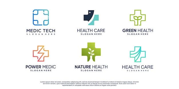 크리에이 티브 요소와 의료 로고 세트 premium vector