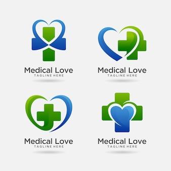 医療愛のロゴデザインのセット