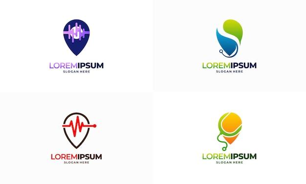 의료 포인트 로고 디자인 개념 벡터 일러스트 레이 션, 건강 포인트 로고 템플릿 아이콘 기호 집합