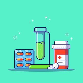 Набор медицинских таблеток и таблеток бутылки плоский мультфильм изолированы.