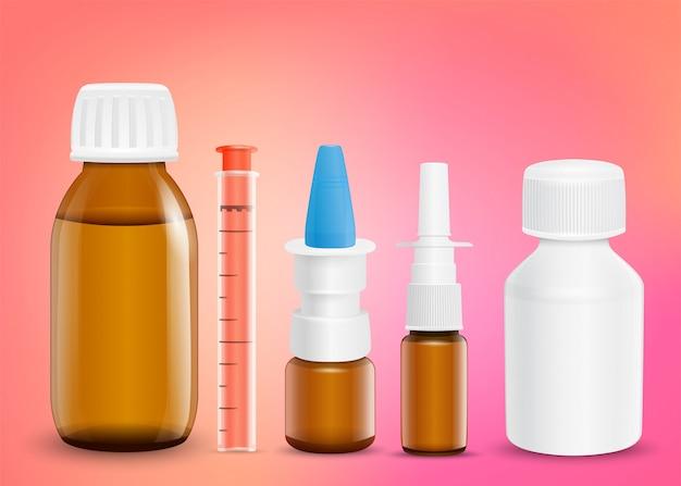 Набор медикаментов для лечения различных симптомов.