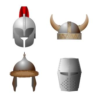 中世のヘルメットのセット。バイキング、ナイト、ホーンド、コッパーゲートヘルメットコレクション。中世のミリタリーキャップ。鉄の要素を持つ帽子。ナイトトーナメント用の帽子、馬上槍試合。図
