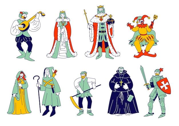 中世の歴史的人物のセット。漫画フラットイラスト