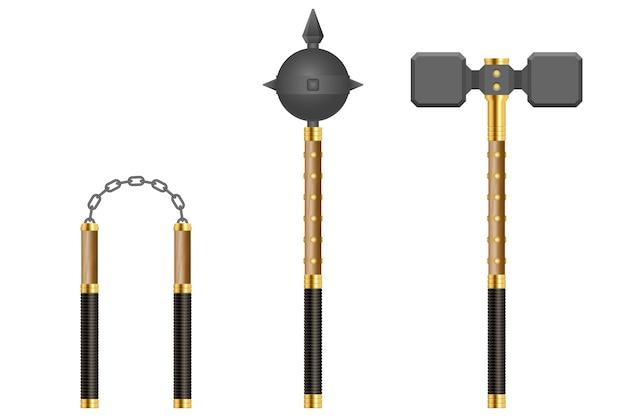 中世の武器のイラストのセット