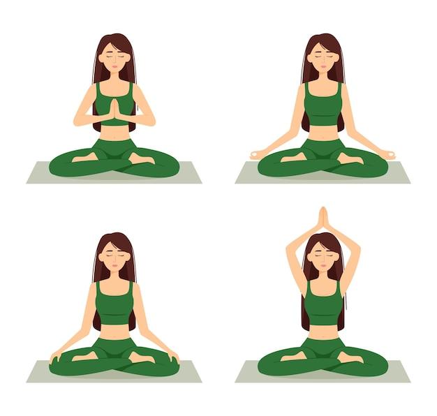 瞑想する女性のセット。ヨガを練習している蓮華座の女の子、ベクトルイラスト