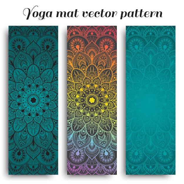 手描きの曼荼羅パターンの瞑想マットのセット
