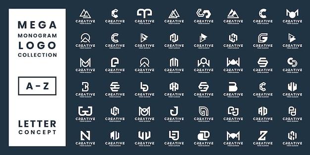 Набор мега монограммы логотипа дизайн концепции письма, абстракция алфавит инициалы