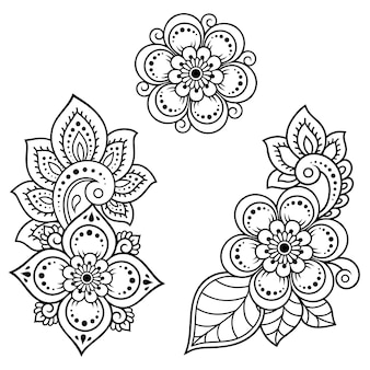一時的な刺青の花のセット。エスニックオリエンタル、インド風の装飾。落書き飾り。手描きイラストの概要を説明します。