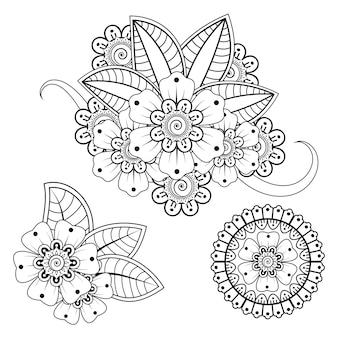 エスニックオリエンタルインディアンスタイルの一時的な刺青の花の装飾のセット。落書き飾り。アウトライン手描きイラスト