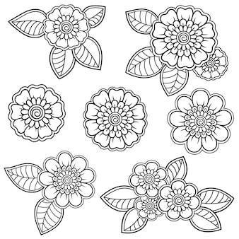 一時的な刺青の花のセット。エスニックオリエンタル、インドスタイルの装飾。