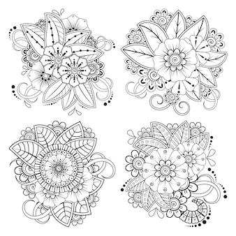 民族オリエンタルスタイルの一時的な刺青の花の装飾のセット。落書き手描きイラストぬりえ
