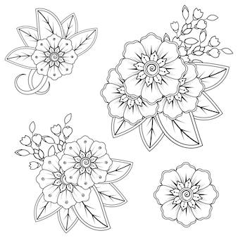 一時的な刺青の花のセット。エスニックオリエンタルスタイルの装飾飾り。落書き飾り。アウトライン手描きイラスト。