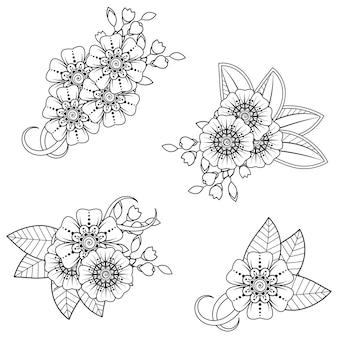 一時的な刺青の花のセット。エスニックオリエンタルスタイルの装飾飾り。アウトライン手描き。ぬりえ。