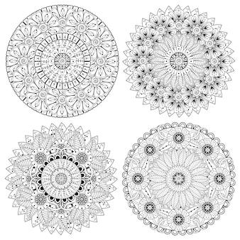 一時的な刺青の花の装飾的な装飾品のセットは、エスニックオリエンタルスタイルのアウトライン手描きで