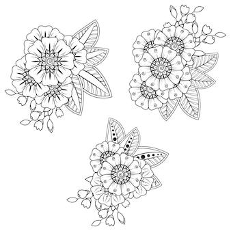 ヘナ、一時的な刺青、タトゥー、装飾用の一時的な刺青の花のセット。エスニックオリエンタルスタイルの装飾飾り。落書き飾り。アウトライン手描きイラスト。塗り絵のページ。