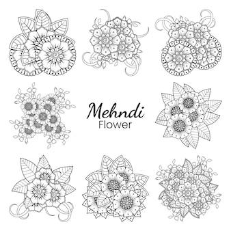 Набор цветов менди в этническом восточном стиле каракули рука рисовать иллюстрации, раскраски страницы книги