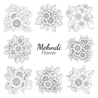 一時的な刺青の花のセットエスニックオリエンタルスタイル落書き飾りアウトライン手描きイラストぬりえ