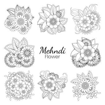 一時的な刺青の花のセットエスニックオリエンタルスタイル落書き飾りアウトライン手描きイラストぬりえ Premiumベクター