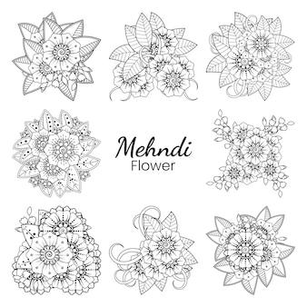 Набор цветов менди в этническом восточном стиле каракули орнамент наброски рука рисовать иллюстрации раскраски страницы книги