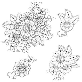民族オリエンタルスタイルの一時的な刺青の花のセット。落書き飾り。アウトライン手描きイラスト。