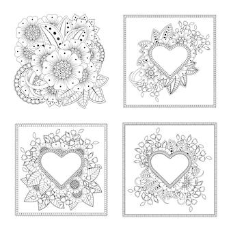 민족 오리엔탈 스타일 색칠하기 책 페이지에 mehndi 꽃 장식 세트