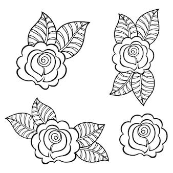 멘디 꽃 패턴의 집합입니다. 민족 동양, 인도 스타일의 장식. 낙서 장식. 개요 손으로 그리는 그림.