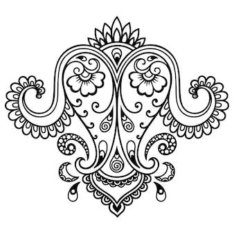 ヘナの描画とタトゥーのための一時的な刺青の花のパターンのセット。エスニックオリエンタル、インドスタイルの装飾。落書き飾り。アウトライン手描きベクトルイラスト。