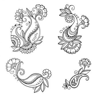 Набор цветочных узоров менди для рисования хной. оформление в этническом восточном, индийском стиле. каракули орнамент. наброски руки нарисовать.