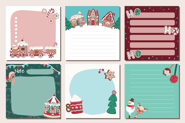 메모 크리스마스 과자 비스킷과 진저 하우스 문구 세트
