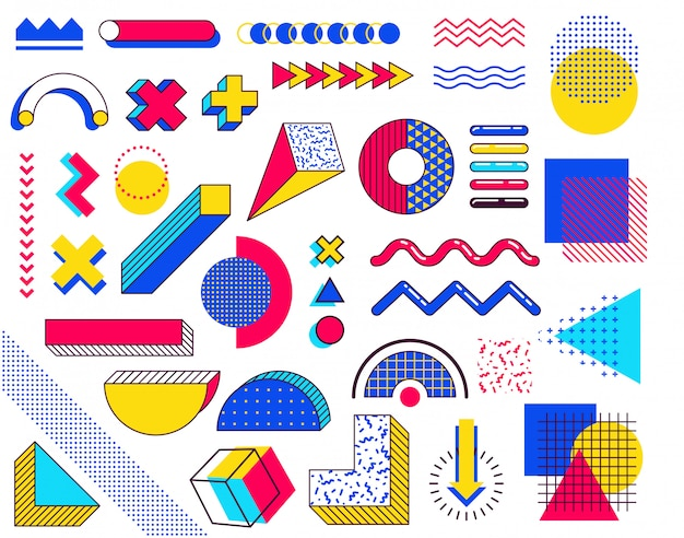 メンフィスのデザイン要素のセットです。色とりどりのシンプルな幾何学的図形を持つ抽象90年代トレンド要素。三角形、円、線の形状